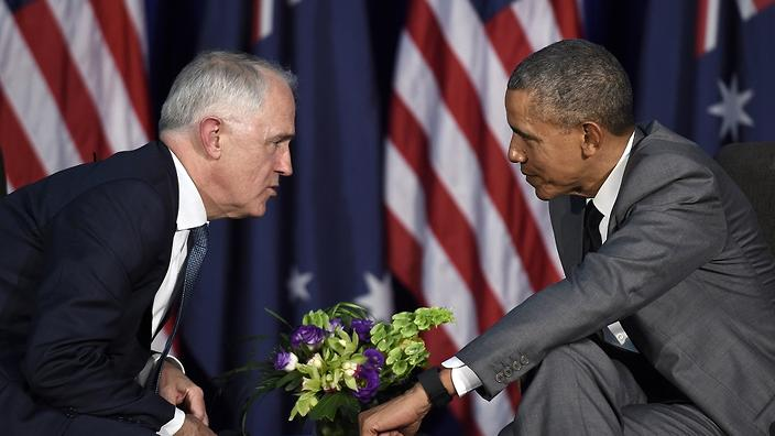 U.S. President Barack Obama, right, talks with Australia's Prime Minister Malcolm Turnbull during their meeting in Manila, Philippines, Tuesday, Nov. 17, 2015, ahead of the start of the Asia-Pacific Economic Cooperation summit. (AP Photo/Susan Walsh)